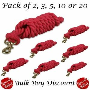 Cotton Leadrope Twisted Lead rope Horse Pony Dog Walking Mult Pack - Red