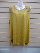 LADIES TOP YELLOW SIZE 22 KALEIDOSCOPE EMBROIDERED LACE DETAIL SUMMER BNWT
