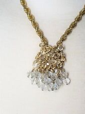Vintage Crystal and Gold Tone hanging Crystal Necklace