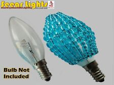 Chandelier Glass Bead Turquoise Light Candle Bulb Cover Shade Vintage Teal Blue