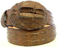 Belt Crocodile Alligator head cut design embossed leather cowboy western style