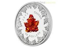 $50 Dollar Autumn Radiance Maple Leaf  Murano Glass 5 oz Silver Canada 2016