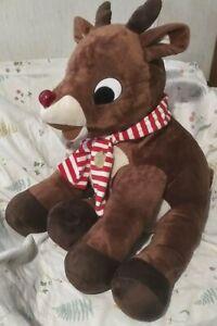 "RUDOLPH Reindeer Christmas Plush Dan Dee Lighted Red Nose 50 Yrs Musical 30"""