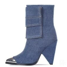Women Denim Pull On Pointy Toe Cone Heel Ankle Boots Fashion Chelsea Shoes Party