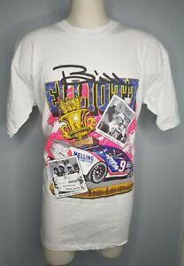 Vintage 80s Mens XL Bill Elliott NASCAR Racing Winston Cup Champ Neon T Shirt