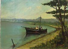 Tableau Peinture 20ème XXème L.A de Jorias Marine Marseille Paysage Rare ancien