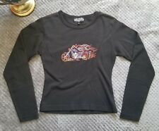 Sports Gallery Womens Size Medium Black Motorcycle Top Bedazzled Long Sleeve