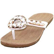 New women's shoes sandal flat t strap slide summer comfort beach casual white