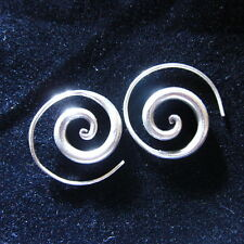 Fine 925 Sterling Silver Spiral Filigree Round Hoops Earrings Classic Craft