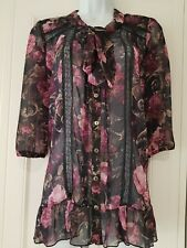 Womens Red Herring Grey Pink Roses Pussy Bow Lace Steampunk Gypsy Boho Blouse 12