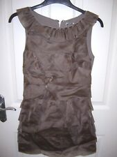 LIPSY TAUPE MINK BROWN TIERED SLEEVELESS SILK DRESS UK 8 SUPERB CONDITION