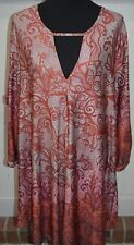 Simply Aster Dress 2x  2xl Geometric Rust & Gray Web Pattern  NEW NWT
