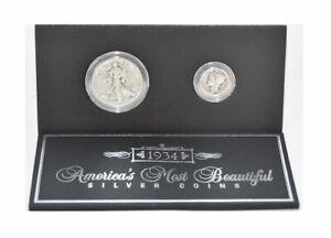 Genuine U.S. Coins America's Most Beautiful Silver Coins Half Dollar & Dime 1934