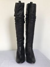 Hobbs Black Knee Length Leather Boots Size 6.5