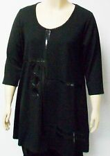 DUTCH DESIGNER YOEK,THEIR SIZE LARGE,BLACK TUNIC WITH FRONT DESIGN, LAGENLOOK.