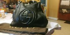 Authentic GUCCI Leather Soho Shoulder Bag Black Medium