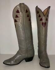 Vintage 70s 80s Justin Heart Boots Grey 5.5 6 6.5 Tall Sexy Rockabilly