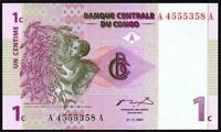 1997 Congo 1 Centime Banknote * UNC * P-80 *