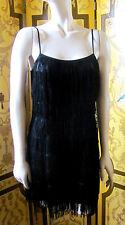 1920s Vintage Style H&M DIVIDED Black Fringed Cocktail Dress Sz8