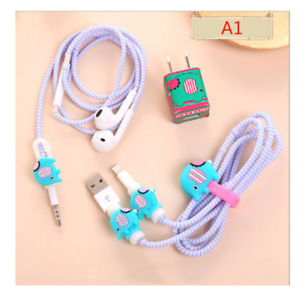 Cable Winder Charger Stickers Cartoon Usb Data Cable Protector Set With Charger