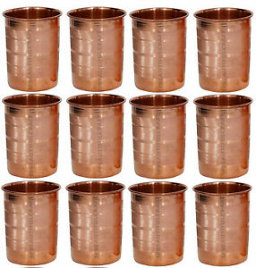 Pure Copper Water Drinking Glass Cup Tumbler Ayurveda Health Yoga, Set Of 12 Pcs