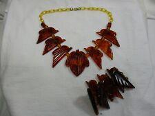 & Bracelet-Phenolic Amber-Tortoise 92g- df Vtg Art Deco Brown Bakelite Necklace