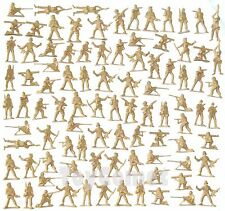 100 pcs Military Plastic Toy Soldiers Army Men Tan 5cm Figures 12 Poses