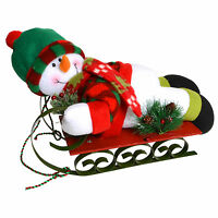 Cute Plush Snowman On Painted Metal & Wood Sledge Christmas Ornament Decoration