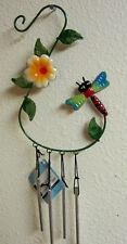 Dragonfly Flower Yard Art Wind Chime Garden Decoration Wall Hanging Patio
