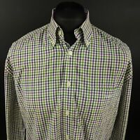 GANT Mens Shirt LARGE Long Sleeve Green E-Z Fit Check Cotton Gingham