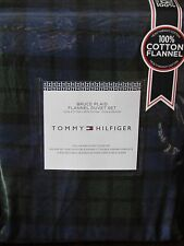 TOMMY HILFIGER Bruce Plaid Green/Navy FULL/QUEEN Flannel Duvet Cover & Shams Set
