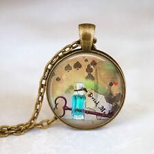 Alice In Wonderland Jewelry • Drink Me Quote Bronze Chain Pendant Necklace