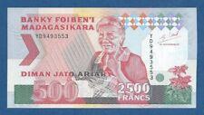 MADAGASCAR -- 2500 FRANCS = 500 ARIARY ND ( 1993 )  -- UNC -- PICK 72Ab .
