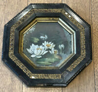 ENGLISH VICTORIAN ANTIQUE Carved Wood OCTAGON WALL FRAME w/Glass Flower Painting