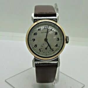 Vintage Movado 11731 Swiss 15J 150 MN Stainless Steel Watch with Leather Band