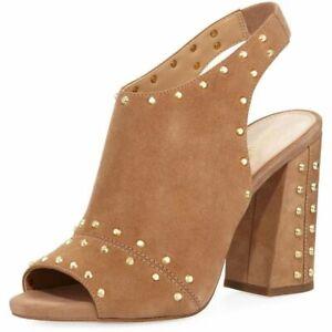Michael Kors Astor Tan Suede Open Toe Block Heel Shoes Size 7.5. Cost £120.00