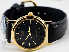 Casio MTP-1095Q-1A Mens Black and Gold Watch Leather Band Analog Quartz New
