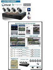 KIT VIDEOSORVEGLIANZA NVR H264 4CH cavi 20mX4 TELECAMERE IP 720p POE ONVIF p2p