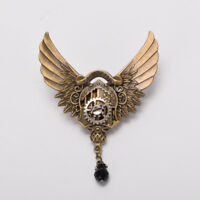 Vintage Victorian Steampunk Shield Gear Wing Brooch Breastpin Costume Lapel Pin