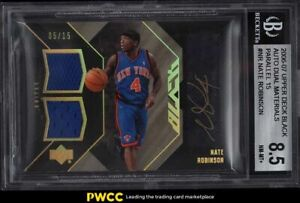 2006 Upper Deck Black Parallel Nate Robinson PATCH AUTO /15 #NR BGS 8.5 NM-MT+
