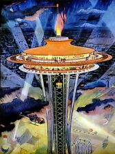 PAINTINGS CITYSCAPE SEATTLE SPACE NEEDLE SPOTLIGHT FLAME LV3002