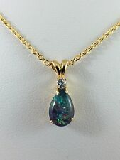 Tear Drop Style Triplet Opal Necklace Pendant / 18ct Twice Gold Plated w Cert