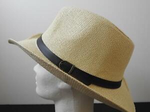 """NWT Cowboy Fedora Hats Brown Belt And Buckle Trim About 2 1/2"""" Brim L/XL O2"""