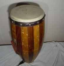 """Latin American Bongos African Indian Conga Folk Drum Percussion 22"""" X 8"""" Used"""