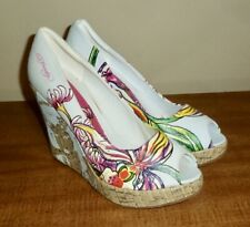New Ed Hardy *Casablanca* Floral High Cork Wedge Pumps - Ladies 9M