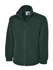 Mens Womens Uneek Unisex Classic Full Zip Work Leisure Warm 300gsm Fleece Jacket Bottle Green XL