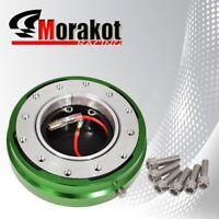 "Universal Steering Wheel 6 Bolt Hub Adapter 1.5"" Short Quick Release Kit Green"