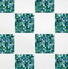 """4 """"x 4"""" Verde Azul Mosaico Auto Adhesivo De Transferencia Stickers Baño Cocina"""