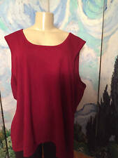 Roaman's Plus 3X Red Scoop Neck Rayon Blend Sleeveless Tunic Sweater Tank Top