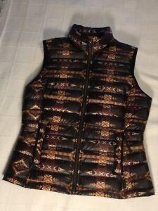 Ariat Pendleton Down Aztec Tribal Print Full Zip Lightweight Vest Women's Medium